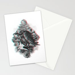 Vulture anaglyph 3D Stationery Cards