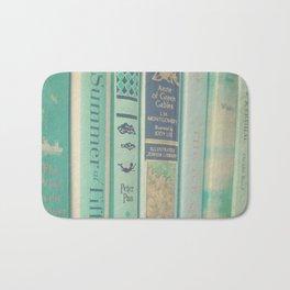 Aqua Mint Books Bath Mat