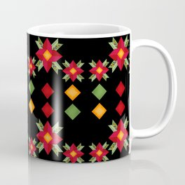 Abstraction .National ethnic ornament . Black background . Coffee Mug
