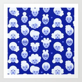 Little Girls Pattern - Blue (0002) Art Print