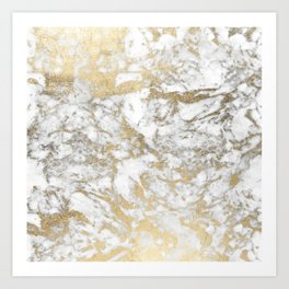 Modern chic faux gold white elegant marble Kunstdrucke