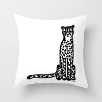 cheetah Throw Pillows featuring Cheetah by Helena's universe