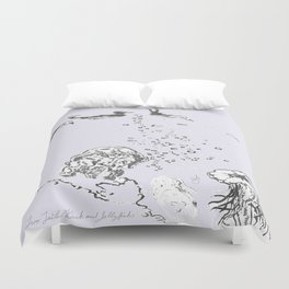 Two Tailed Duck and Jellyfish Lavender Duvet Cover