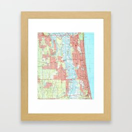 Jacksonville Beach and Atlantic Beach Florida Map Framed Art Print