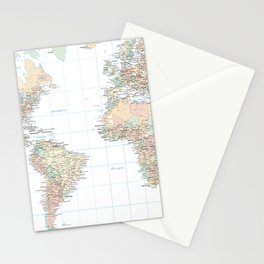 Clear World Map Stationery Cards