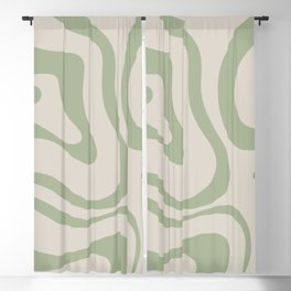 Liquid Swirl Abstract Pattern in Almond and Sage Green Blackout Curtain