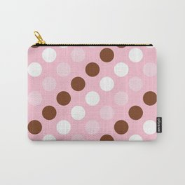 Polka Dots, Spots (Dotted Pattern) - Pink Brown Carry-All Pouch