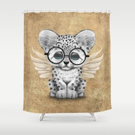Snow Leopard Cub Fairy Wearing Glasses Shower Curtain