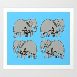 Elephants Pattern in Blue Art Print