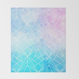 Geometric White Pattern on Watercolor Background Throw Blanket