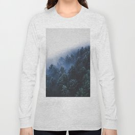 Foggy Blue Purple Mountain hill Pine Trees Landscape Nature Photography Minimalist Modern Art Long Sleeve T-shirt