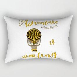Adventure is Waiting Retro Hot Air Balloon Pilot Rectangular Pillow
