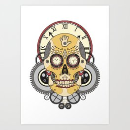 Clock Skull Art Print
