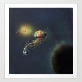 Jellyfish in space Art Print