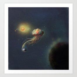 Jellyfish in space Art Print