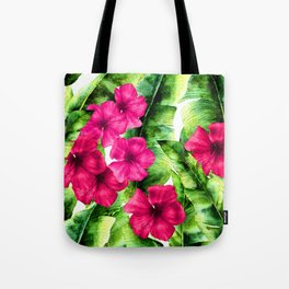 green banana palm leaves and pink flowers Tote Bag