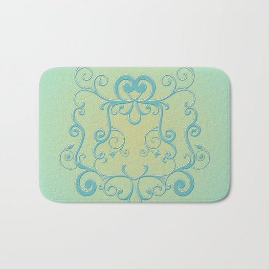 Mint tendrils emblem Bath Mat