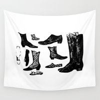 shoes Wall Tapestries featuring Vintage Shoes by Gallymogger Print