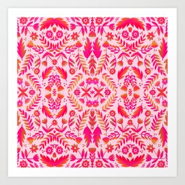 Folk Art Flowers Pattern - Red and Pink Art Print
