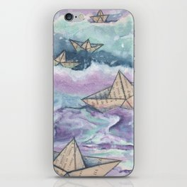 Paper ships and sea iPhone Skin