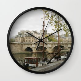 Ships at Dock Wall Clock
