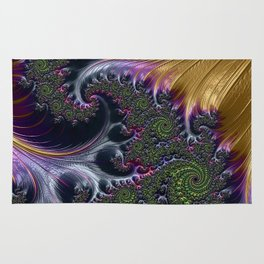 Amazing Gorgeous Intricate Elegant Fractal Flourish Swirls Gold Purple Colorful Abstract Rug