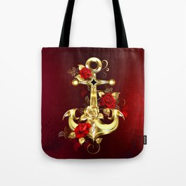 Golden Anchor with Roses Tote Bag