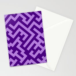 Lavender Violet and Indigo Violet Diagonal Labyrinth Stationery Cards