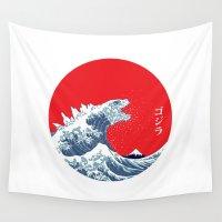 kaiju Wall Tapestries featuring Hokusai kaiju by Marco Mottura - Mdk7