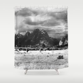 Horse and Grand Teton (Black and White) Shower Curtain