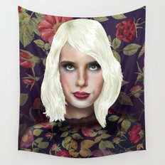 Young Girl and Flowers (Emma Roberts) Wall Tapestry