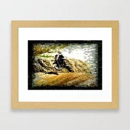 Dirt-bike Racer Framed Art Print
