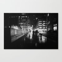 new york city Canvas Prints featuring New York City Noir by Vivienne Gucwa