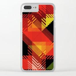 Fall Color Multi Pattern Design Clear iPhone Case