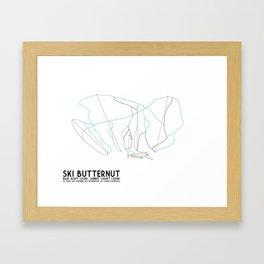 Ski Butternut, MA - Minimalist Trail Art Framed Art Print