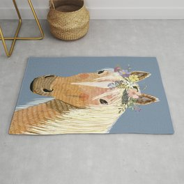 Horse with flower crown Rug