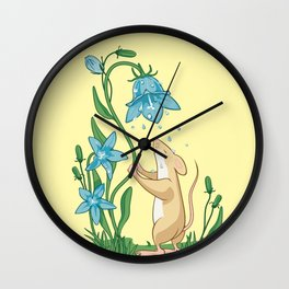Morning Wash. Field Mouse and Bluebell Wall Clock