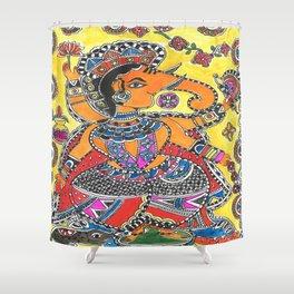 Madhubani - YellowGanesh Shower Curtain