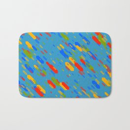 Colorful shapes on a blue background Bath Mat