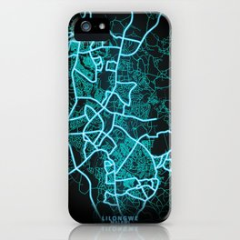 Lilongwe, Malawi, Blue, White, Neon, Glow, City, Map iPhone Case
