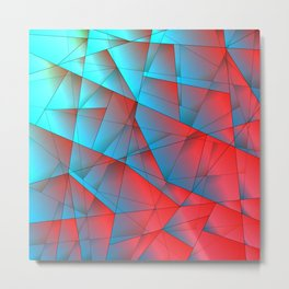 Bright fragments of crystals on irregularly shaped red and blue triangles. Metal Print