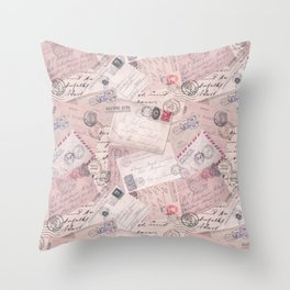 Nostalgic Letter and Postcard Collage Soft Pink Throw Pillow