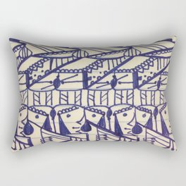 Hieroglyphic Tribal Chevron Doodle Rectangular Pillow