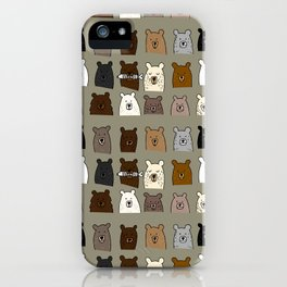 Bear Portraits in Green iPhone Case