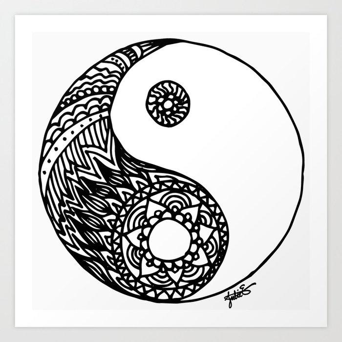 Tangled Yin Yang Art Print