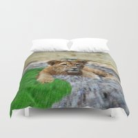 the lion king Duvet Covers featuring King Lion by helsch photography