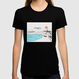 Tropical beach drawing  T-shirt