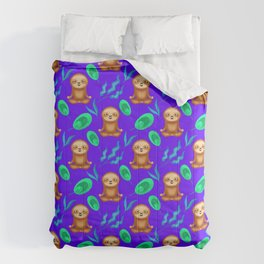 Funny cute happy meditating sloths, tropical rainforest exotic green and blue leaves purple pattern Comforters