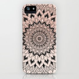 Boho black watercolor floral mandala rose gold glitter ombre pastel blush pink iPhone Case
