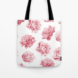 Pink Rose Garden on White Tote Bag